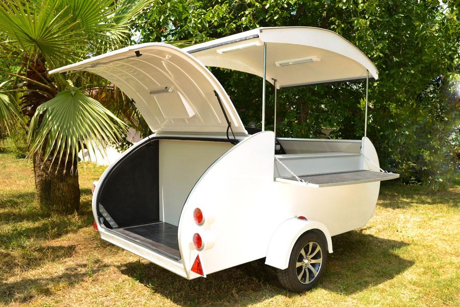 Mini Caravana Caretta Shop capacidad de almacenaje