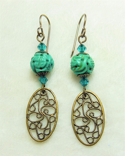 Oval Filigree Drop Earrings