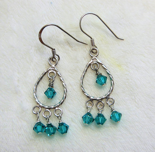 Silver Tear Drop and Teal Crystal Earrings