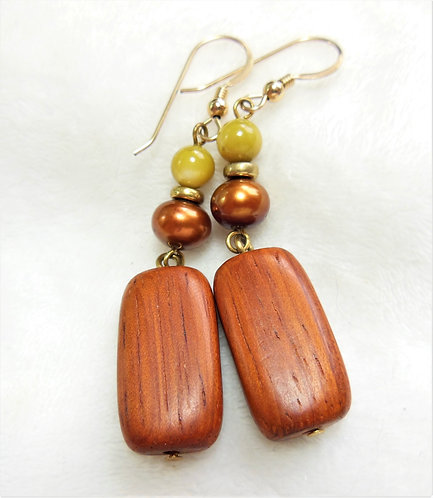 Wood Rectangle Earrings