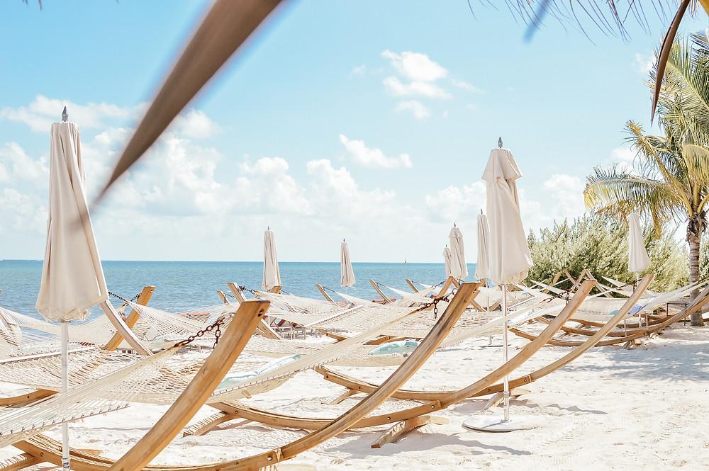 hammacs, plage, voyage, Cancun, Mexique