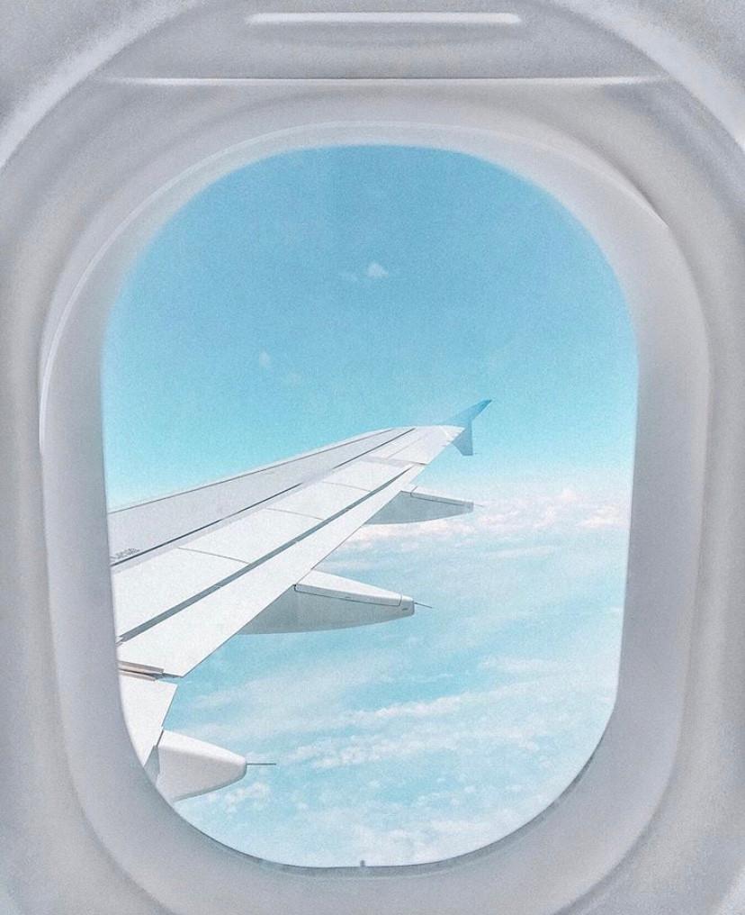 avion, hublot, aile, vue, paysage, nuages