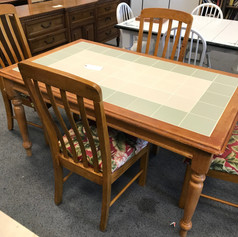 tile inlay kitchen table and chairs with cushions