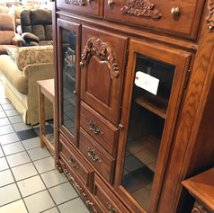 Carved Wood Cabinet with Glass Doors