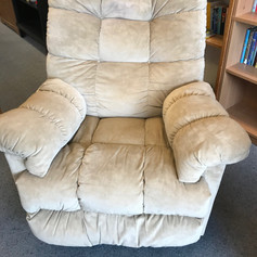 Puffy off-white recliner