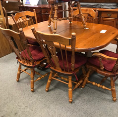 Dining table and chairs country oak