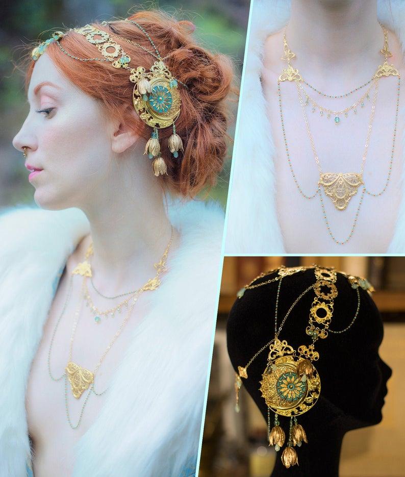 Art Nouveau coiffe et collier