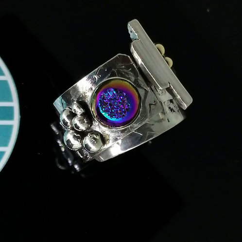 Rainbow Druzy Ring