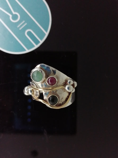 Chalcedony, Emerald and Ruby Ring