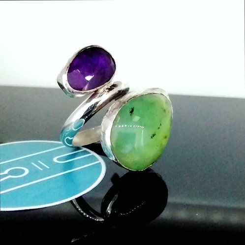 Amethyst and Chrysophase Ring