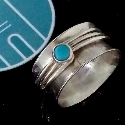 Turquoise & Silver Chunky Spinner Ring