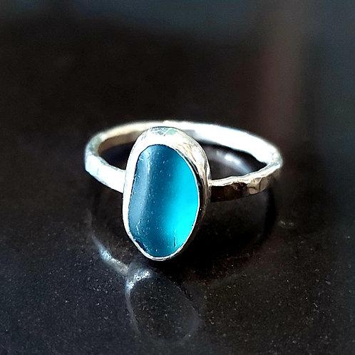 Beautiful blue seaglass ring