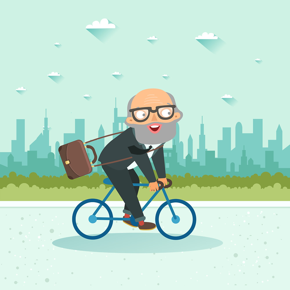 old man is riding a bike to work