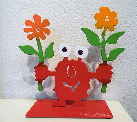 Monsterkollege mit Blumen