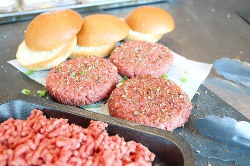 Burger Bavette (4 boulettes 125 g) et 4 pains