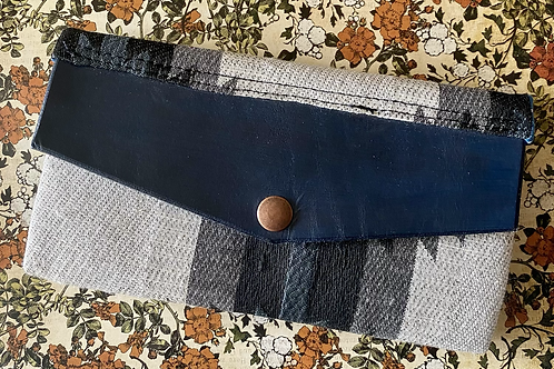 Fabric and leather wallet