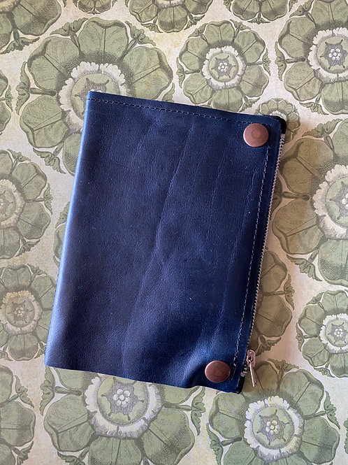 Leather bifold wallet - Blue (multiple interior colour options)