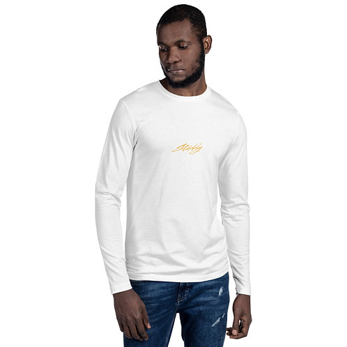Long Sleeve Fitted Crew (Gold text)