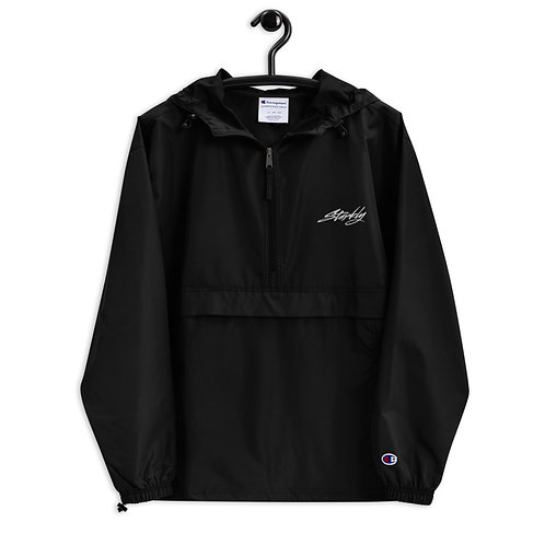 Embroidered Packable Jacket (White text)