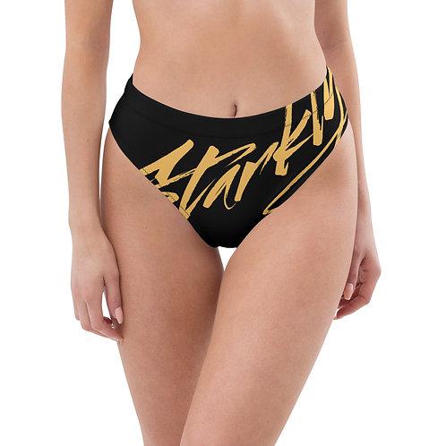 Starkly high-waisted bikini bottom (Gold text)