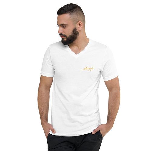 Short Sleeve V-Neck T-Shirt (Gold text)