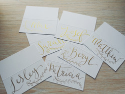 Tent place cards with vine detail