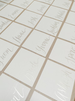 Silver tent placecards