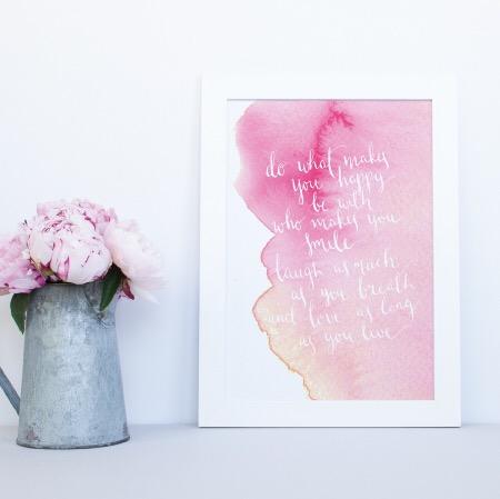 Calligraphy & Watercolour print
