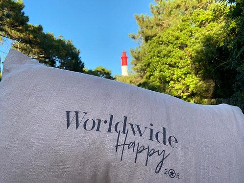 """Leinen-Kissenbezug mit Spruch """"Worldwide Happy"""""""
