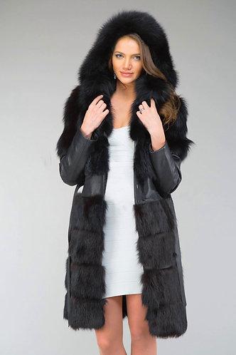 Императрица furs / Шуба натуральная из меха сибирской лисы и кожи