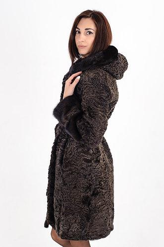 Императрица furs / Шуба натуральная из меха африканского каракуля с капюшоном