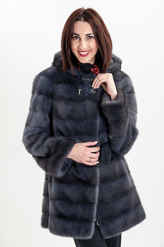 Императрица furs / Шуба натуральная из меха скандинавской норки с капюшоном