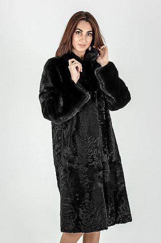 Императрица furs / Шуба натуральная из меха каракуля с воротником норки