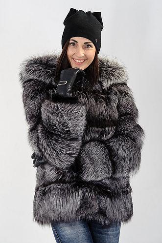 Императрица furs / Шуба натуральная из меха чернобурки с капюшоном