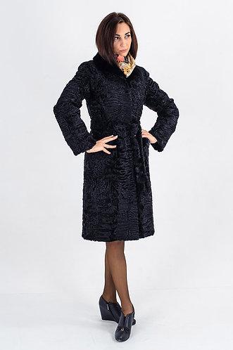 Императрица furs / Шуба натуральная из меха африканского каракуля с воротником