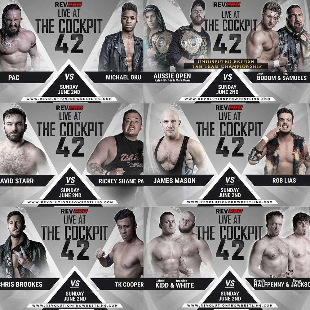 The card for Sunday June 2nd's Live At The Cockpit 42
