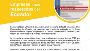 NOBIS Y PRONOBIS, Empresas más respetadas del ecuador