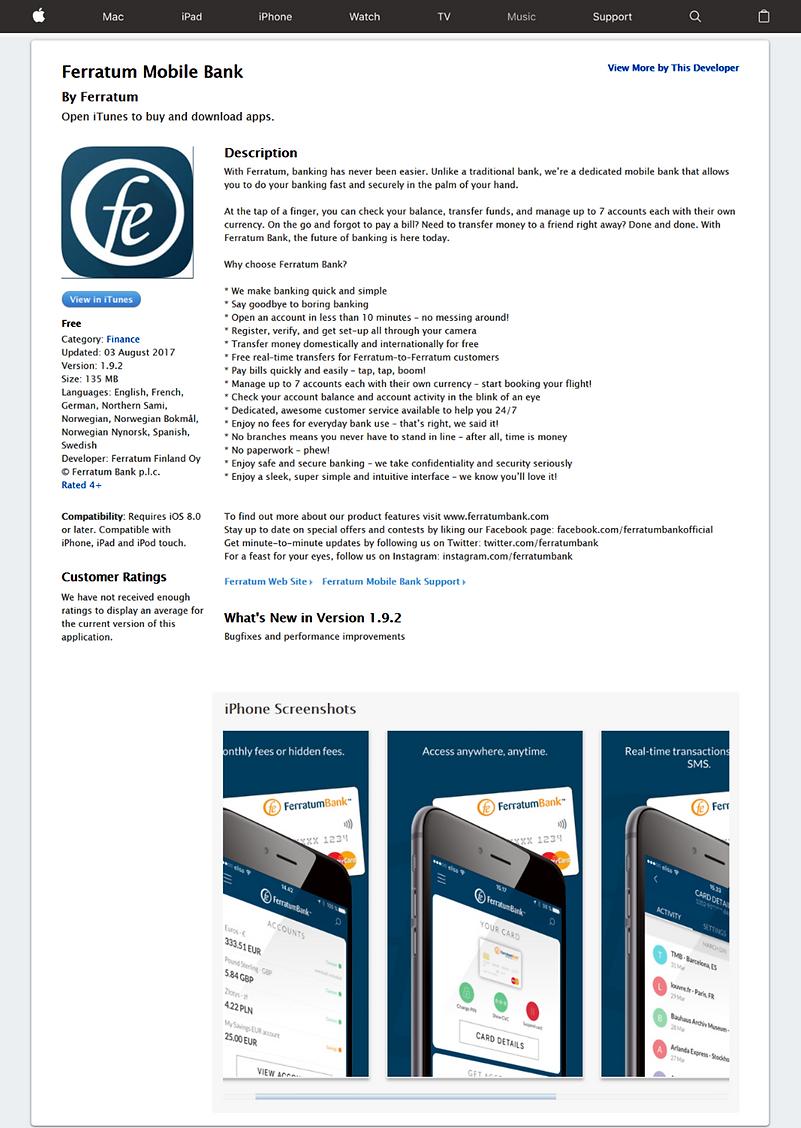 Screenshot of FerratumBank App store Listing