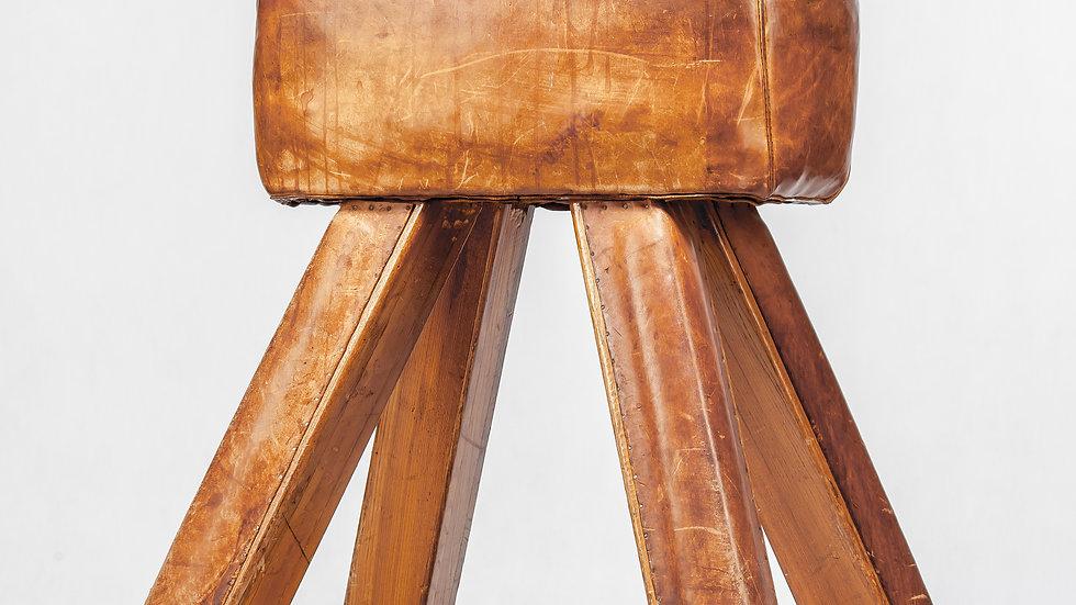 Vintage Leather Gymnastics Bench Pommel Horse- brown original - 1930s