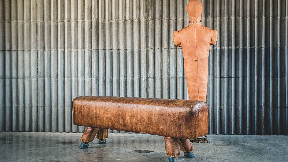 Vintage Leather Bench Pommel Horse from the 1930s