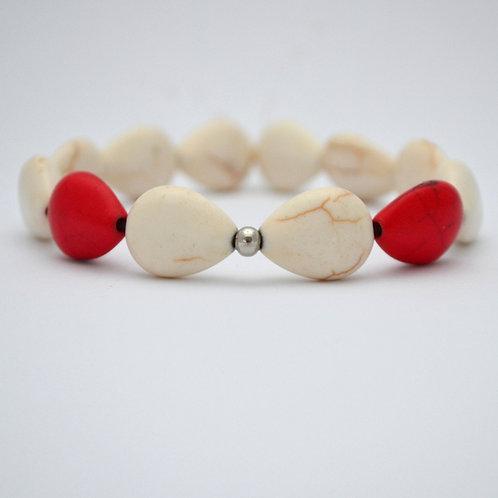 Elegantní náramek - bíločervený