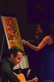 Improvising: painting and singing the Hebrew Alphabet