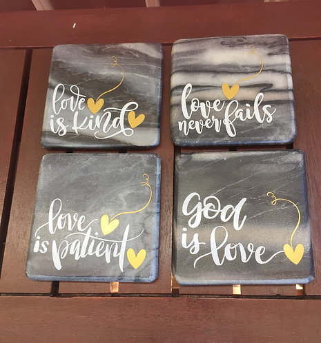 "Marble ""Love Is"" Coaster Set"