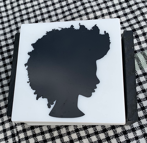 Black Girl Silhouette Marble Coaster Set