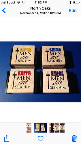 Fraternity Religious Coaster Set with Holder