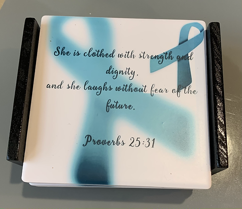 """Coaster Set """"She is Clothed with Strength..."""""""