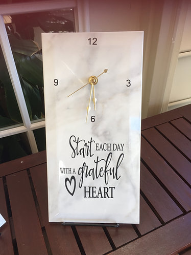 Marble Clock with Easel - Inspirational