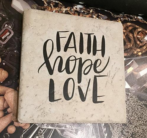 """3 in 1 Trivet """"Faith, Hope, Love"""""""