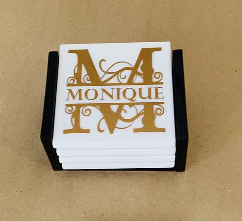 "Coaster Set ""Monogram"""