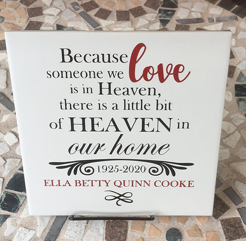 Personalized Sympathy Plaque with Easels
